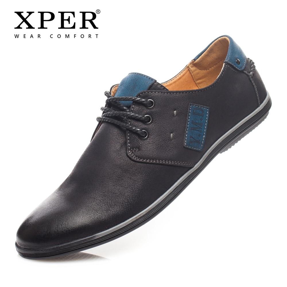 XPER Mens Casual Shoes Lace-up Black Men Flats Shoes Business walking Shoes Big Size Chaussure Homme #YM86832BL