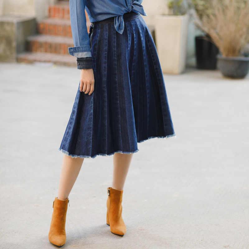 אינמן חדש חצאית קפלים ג 'ינס חצאית אונליין באורך הברך מקרית סגנון עטוף חצאית