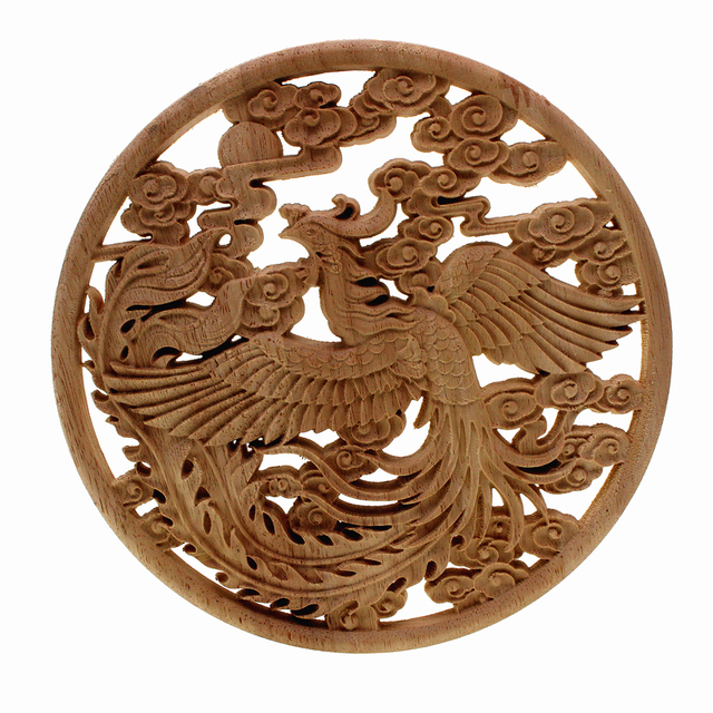 Bird and Flowers Carved Round Ornament