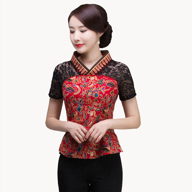 2ad18d6f45f5e Online Shop Brand Designer 2018 Summer New Women Cotton Linen Shirt Top  Chinese Style Lace splicing Blouse Tradition Flower Frock
