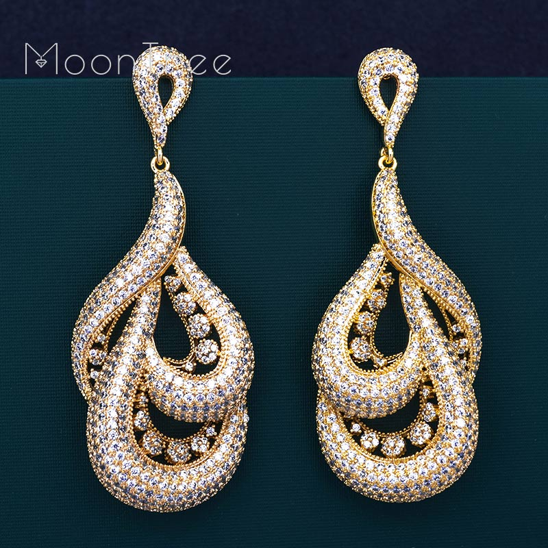все цены на MoonTree Luxury Water Drop Full Micro AAA Cubic Zirconia Gold Color Engagement Party Fashion Large earrings for women