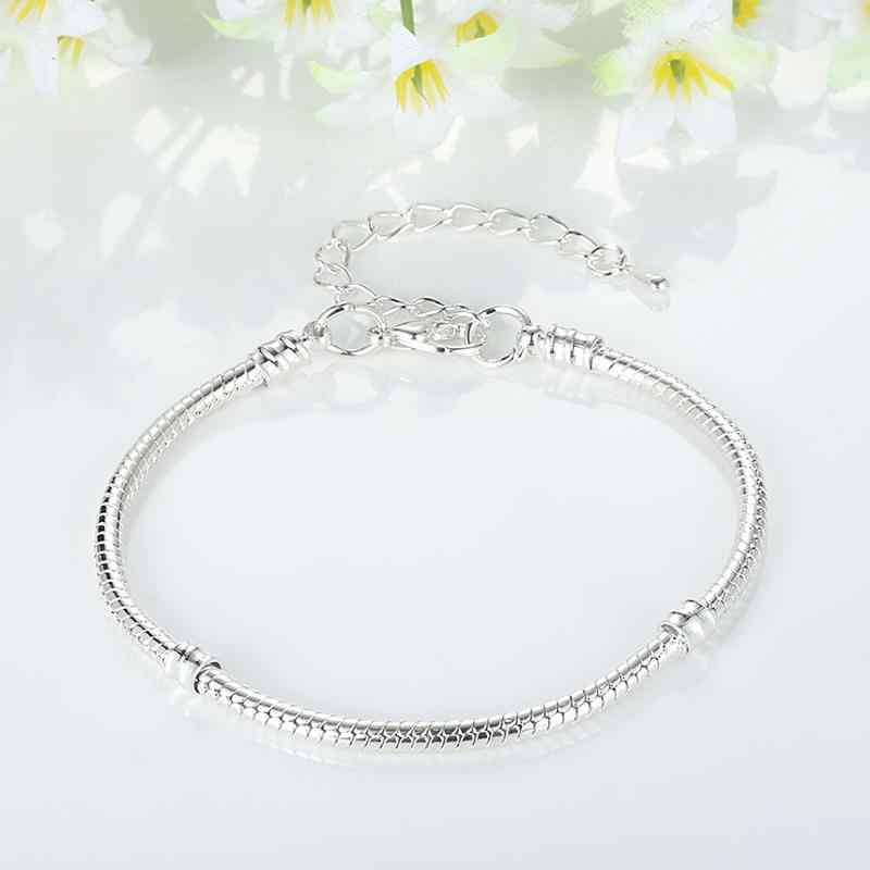 Aliexress באיכות גבוהה כסף מצופה חרוזים קסם שרשרת צמיד DIY כסף תכשיטים מתנה