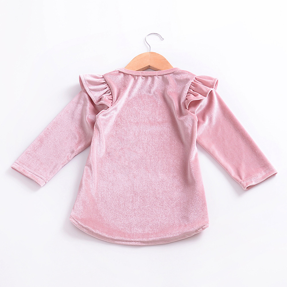 Newest kids dress girls dresses Infant Kids Baby Girls Velour Long Sleeve Solid Tops Dress Outfits Clothes Soft high quality 1-4