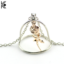 Women Holiday Gifts Beauty and the Beast Necklace In Pendants Necklaces Rose in Metal bohemian jewelry His Beauty/Her Beast Gift