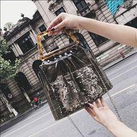 Women's Fashion PVC Clear Tote Bag Brand Designer Popular Plastic Handle Summer Beach Handbags Transparent Jelly Bag Handbag
