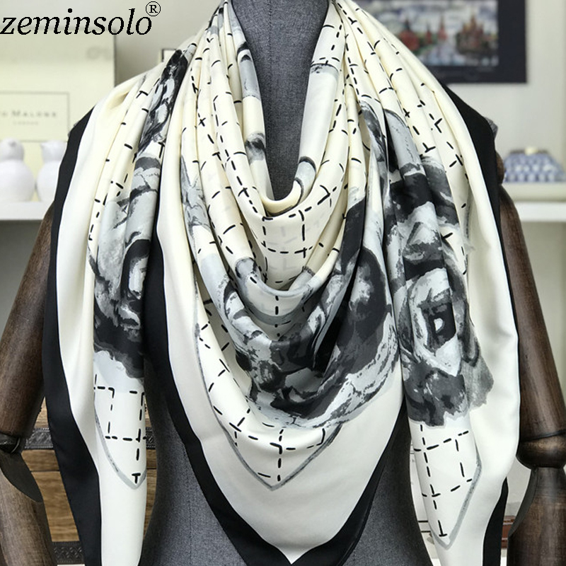 100% Silk   Scarf   Hijab Foulard Head   Scarves   Hair Bandana Large Square 130*130cm Silk Twill Scarfs Shawl   Wraps   Stoles Hand Roll
