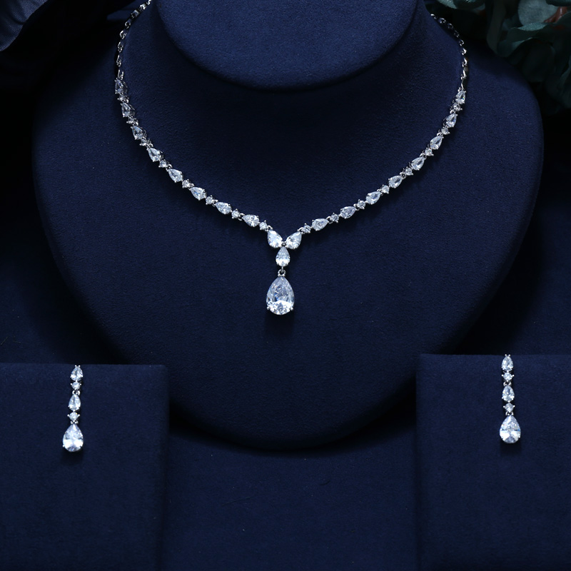 JANEKELLY ZIRCON EARRINGS NECKLACE Bridal-Jewelry-Set Wedding-Dress ACCESSARIES CRYSTAL