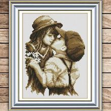 Beautiful Needlework,DMC bead Cross stitch,Sets For Embroidery kits,first romantic kiss Counted Cross-Stitch