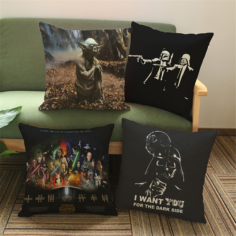Black wars master yoda Force SITH throw cushion cover pillow cases office seat Home coffee shop Decorative for children gift