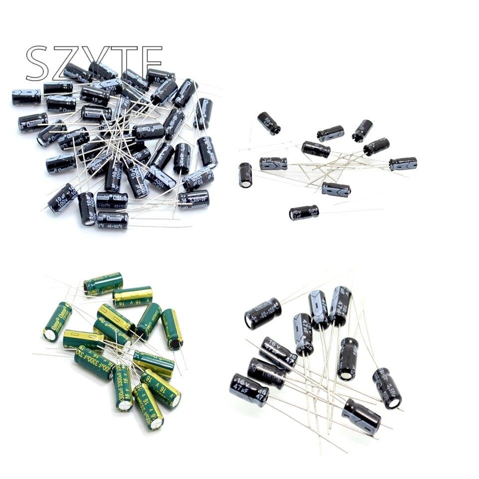 5/10/20PCS Aluminum Electrolytic Capacitor 6.3/10/16/2/35/63V/400V 10UF 100UF 1000UF 22UF 220UF 2200UF 33UF 330UF 47UF 470UF
