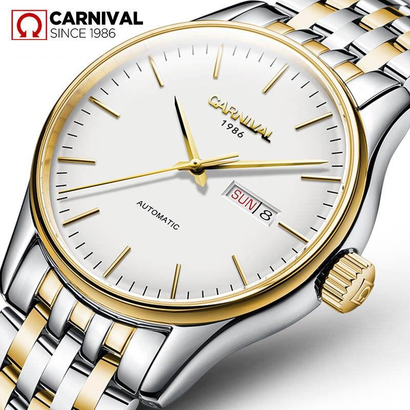 2019 Carnival Mens Clock Automatic Mechanical Watch Men Stainless Steel Simple Business Male Watch Luxury Brand Dress WristWatch