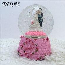 I Love You Groom And Bride Snow Crystal Ball Music Box Creative Wedding Decor Musical Box With Snowflake Rotatable