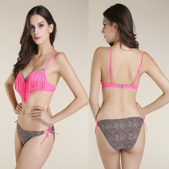 2016 new sexy young girls Leopard Triangle bottom bandage Tassel push up Condole belt top bikinis