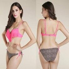 2017 new sexy young girls Leopard Triangle bottom bandage Tassel push up Condole belt top bikinis