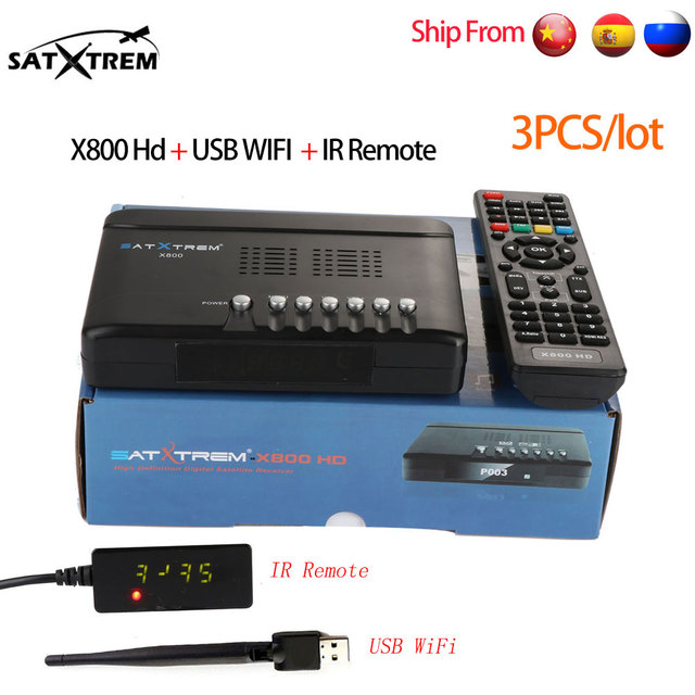 3PCS Satxtrem X800 HD DVB S/S2 Satellite Receiver With USB Wifi IR Receptor Support Cccam Dollby,AC3 Youtube Satellite Receiver