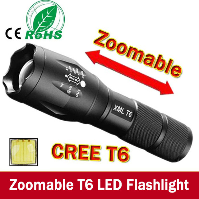 E17 XM-L T6 3800Lumens led Torch Zoomable LED Flashlight Torch light For 3xAAA or 1x18650 Free shipping