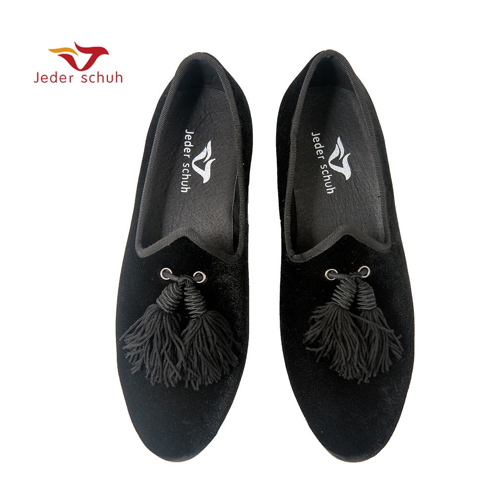 Jeder Schuh men shoes Italian Design Unique Style tongue with tassels For weddings and banquets Smoking slippers flatsJeder Schuh men shoes Italian Design Unique Style tongue with tassels For weddings and banquets Smoking slippers flats