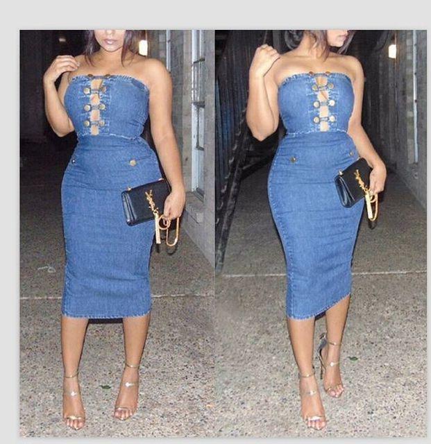 6ee0590a7a New fashion elegant 2017 bandage dress sexy strapless club women bodycon  denim dress SY0618