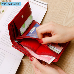 Image 4 - VICKAWEB Small Wallet Women Patchwork Genuine Leather Female Purse  Womens Wallets Ladies Casual Womens Money Zipper&Hasp walet