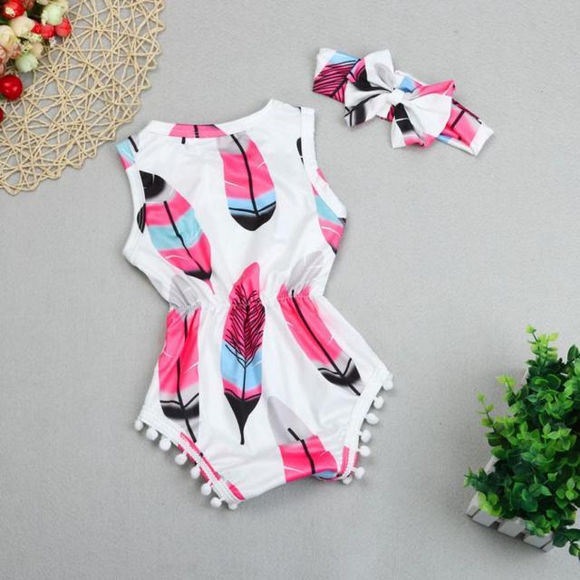 BMF TELOTUNY ファッションガールズ服ロンパース幼児子供女の赤ちゃんノースリーブフェザーロンパースジャンプスーツ + ヘッドバンド 2 ピースセット Jul6