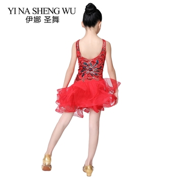 Children Latin Dance Dress New Sequins Mesh Latin Dance Stage Performance Clothing Girls Latin Tango Salsa Competition Dress Red 6
