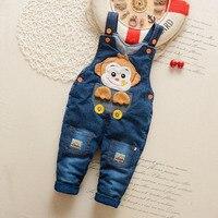 High Quality Leggings Bib Pants Pure Cotton Cartoon Caw Boys Girls Baby Winter Denim Jumpersuit Trousers