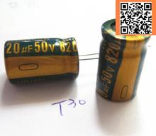 2pcs/lot T30 high frequency low impedance 50V 820UF aluminum electrolytic capacitor size 13*20 820UF