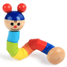 Wooden clown pull sports desktop game Toys Color gyro toy gi