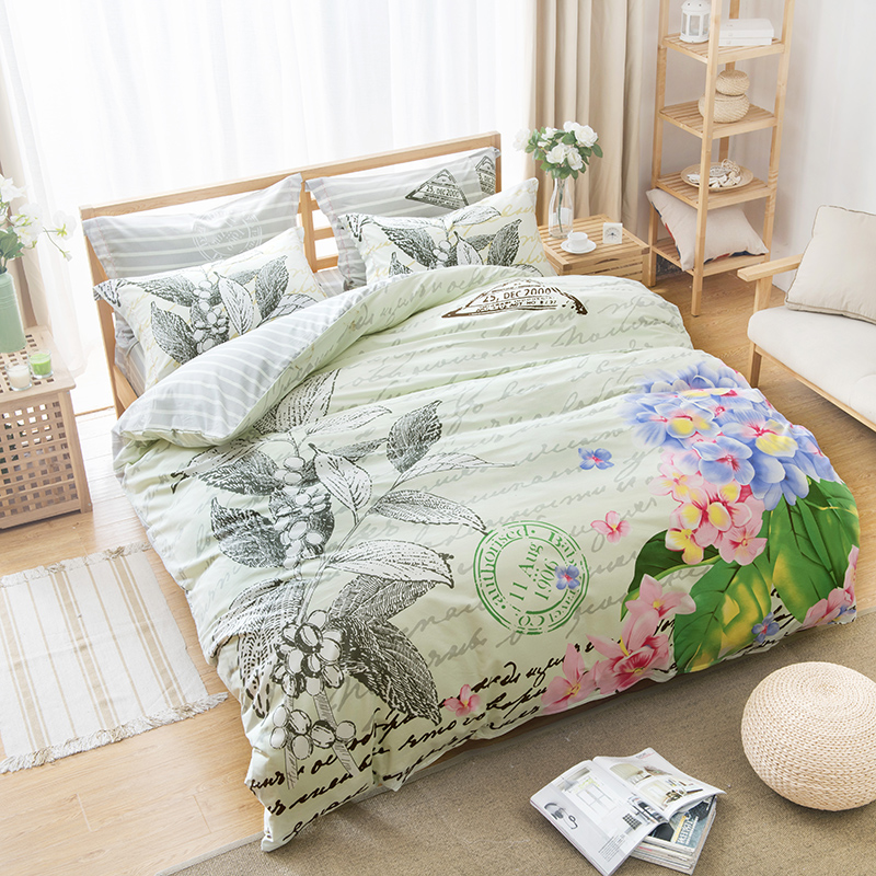 Floral Print Postmark Letter Bedding Sets 4pcs Cotton Fabric Bed Sheets Pillowcase Duvet Cover Queen Size Bedroom Sets On Sale