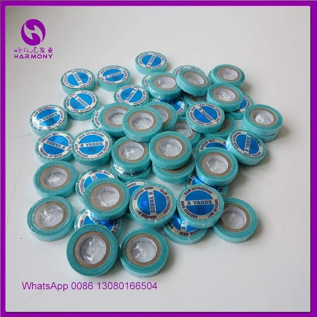 2 Rolls Double Sided Hair Tape 1cm*3Yard Super Tape Blue Color Wig Tape Easy Use For Tape Hair Extensions