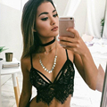 Sexy Lace Bralette Black White Erotic Lingerie For Women Bustier Crop Top Femme Short Vest Corset Strappy Bra Camisole 3661-923
