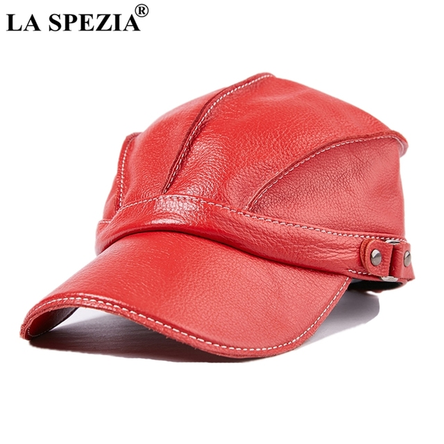 9fba19d4f2c LA SPEZIA Red Baseball Cap Men Genuine Cow Leather Caps Snapback Hat Male  Adjustable Luxury Brand Winter Vintage Baseball Hats