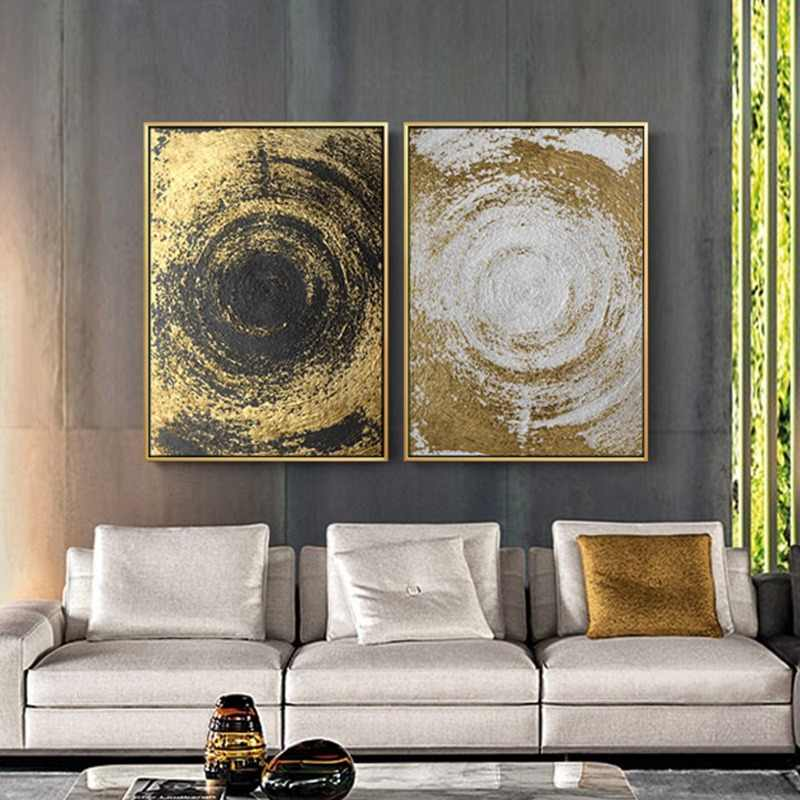 100% Handmade Gold And White Quicksand Abstract Canvas Painting Modern Home Decor Wall Art Oil Painting For Living Room  Bedroom