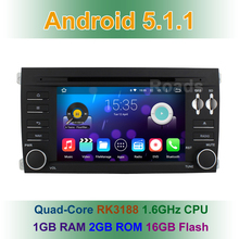 1024X600 Quad Core Android 5.1 Car DVD Player Radio for Porsche Cayenne 2003-2010 Wifi BT GPS Navigation