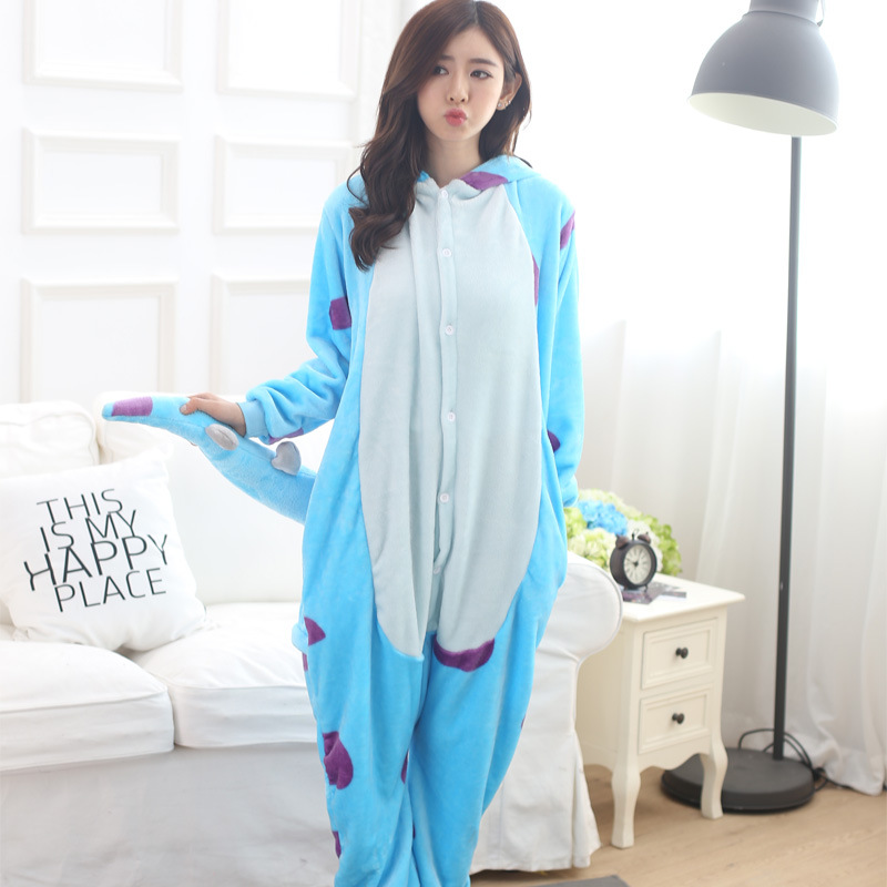 Adults Animal Kigurumi Blue Monster   Pajamas     Sets   Sleepwear Cosplay Zipper Onesie Hooded Women Men Winter Unisex Cartoon   Pajamas