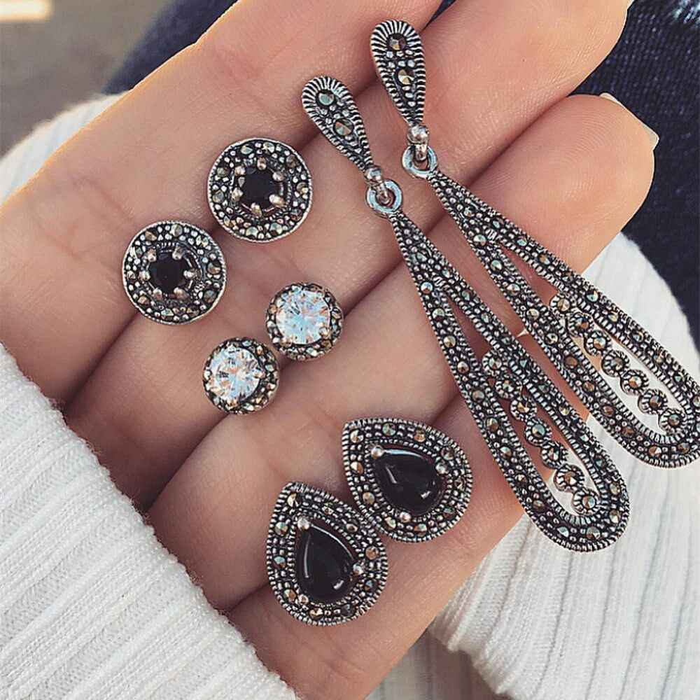 4 Pairs/Set Crystal Waterdrop Stud Earring Vintage Gem Stone Bohemian Earrings Set Women Fashion Party Jewelry Gifts 811
