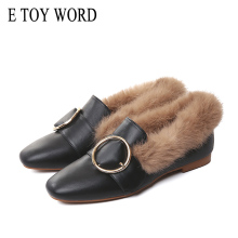 E TOY WORD womens loafers Mules Fur Women Shoes Rabbit Flats platform Fluffy Comfortable Winter Warm Womens Moccasins