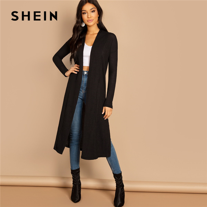 SHEIN Black Split Side Longline Plain Long Sleeve Cardigan Women Outerwear Coat 2019 Spring Cotton Casual High Street Coats