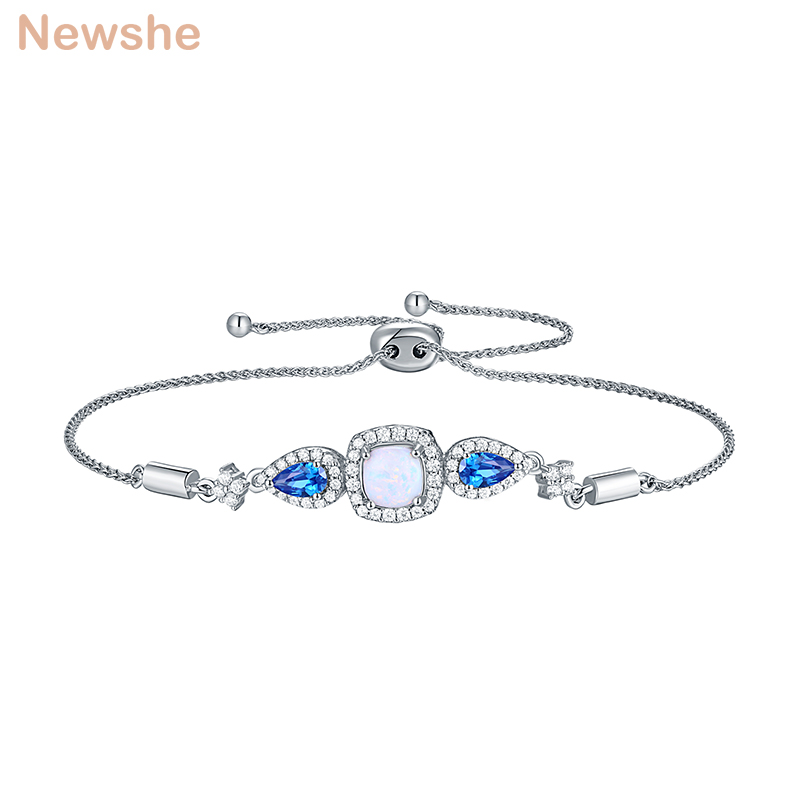 Newshe 925 Sterling Silver Bracelet For Women Adjustable Slide Clasp White Opal Blue AAA Cubic Zirconia Fashion Jewelry