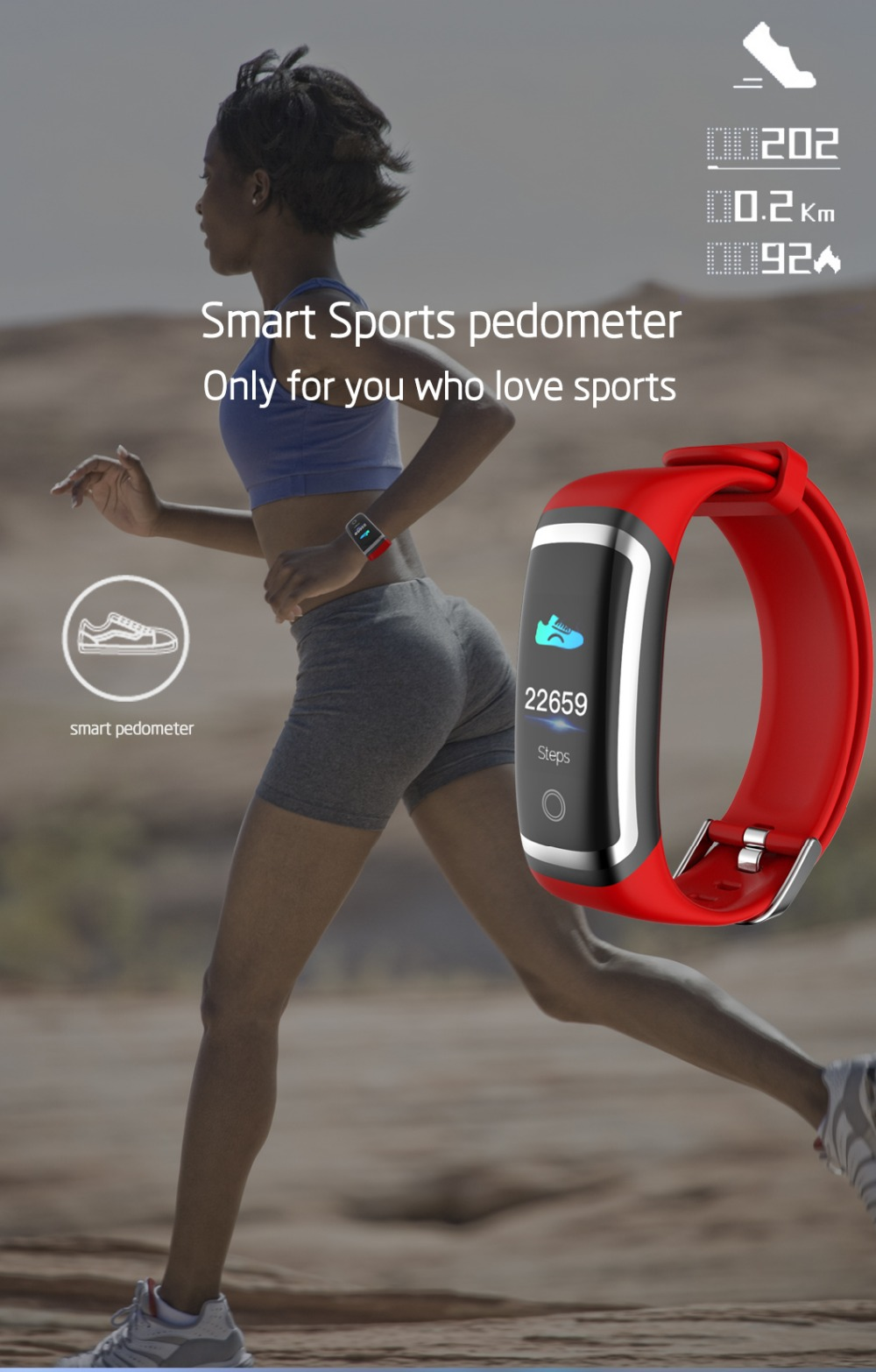 Wearpai M4 fitness tracker Color screen blood pressure passometer message/call reminder smart bracelet for sports swimming 10