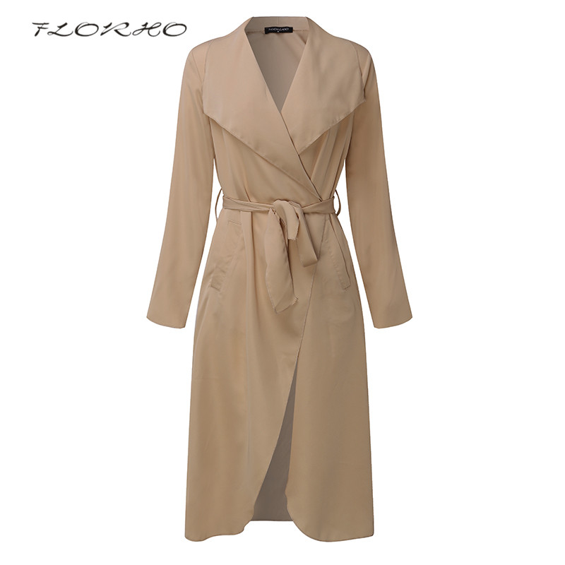 Spring Thin Waterfall Collar   Trench   Coat Women Khaki Lapel Neck Long Sleeve With Belt Outerwear Autumn Elegant Windbreaker Coats