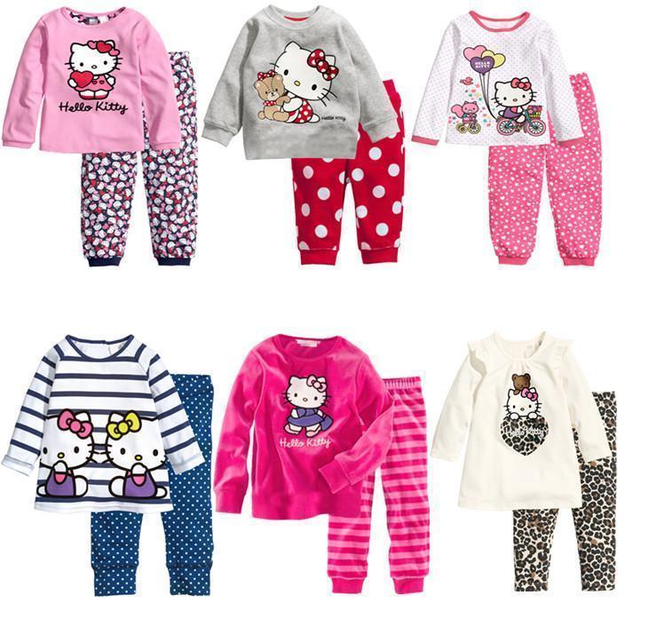 2018 roupas infantis menina menina baby girl christmas pyjamas sleepwear pajama sets cotton pajamas new years long sleeved kids - Girl Christmas Pajamas