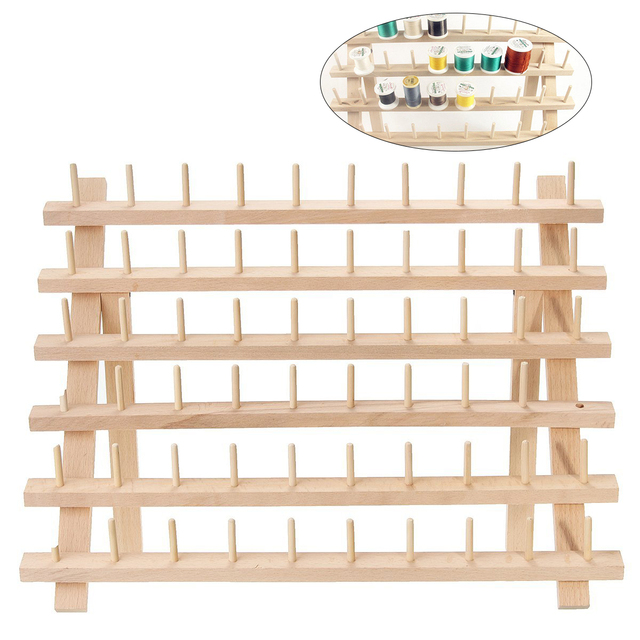 Foldable Wood Thread Stand Rack Holds Organizer Wall Mount 60 Spool Cone Embroidery Machine Sewing Storage Holder