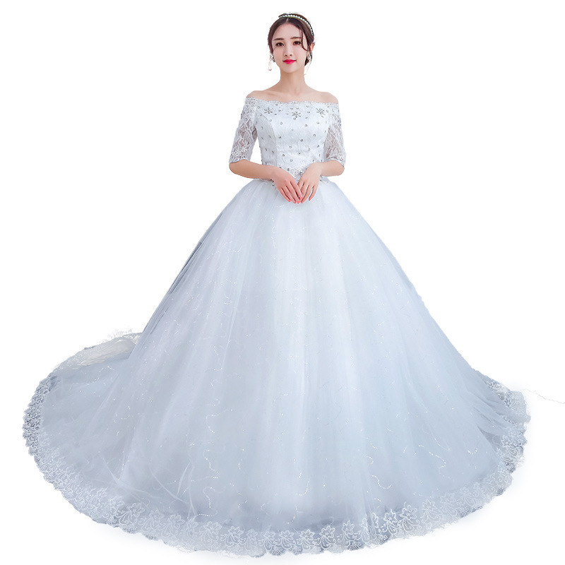 Image 5 - Plus Size Gorgeous Long Train Wedding Dresses Lace Beaded Ball Gown Of The Shoulder Elegant Bride Dresses Luxury Wedding Gowns-in Wedding Dresses from Weddings & Events