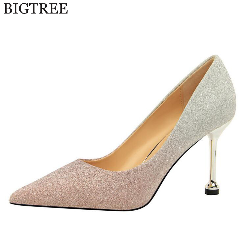 2018 new Gold Silver Women Pumps Bling High Heels Women Pumps Glitter High Heel Shoes Woman Sexy Gradient color Wedding Shoes 11 new 2018 women pumps party bling high heels gold silver fashion glitter heels women shoes sexy wedding shoes