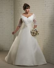 free shipping 2013 Long Lace Sleeves Plus Size Bridal Wedding Dress Discount Gown plus size wedding gown