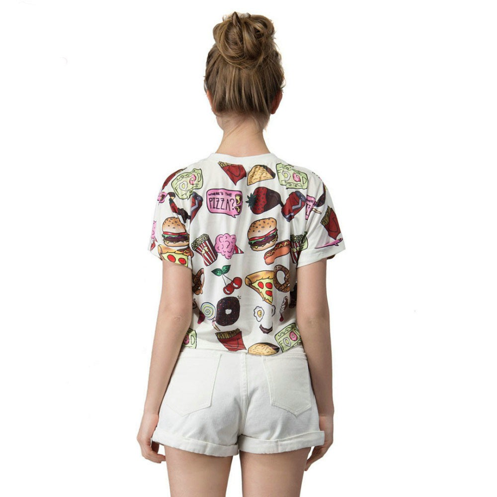 Fast Food Print T-Shirt Crop Top 2