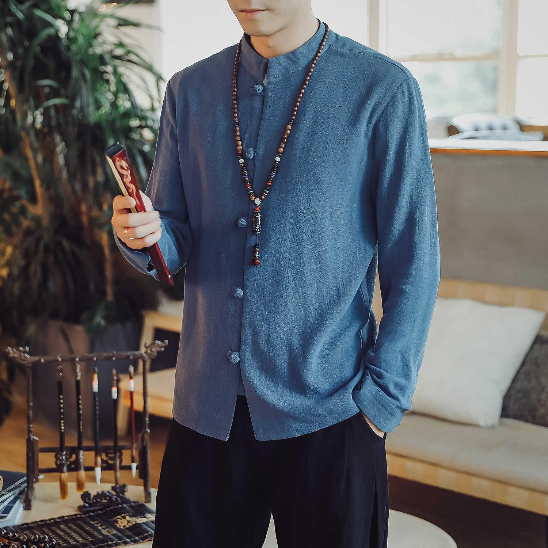 繁体字中国語服男性のためのカンフー服チャイナ上海唐装カンフーメンズヴィンテージオリエンタルシャツ 5XL