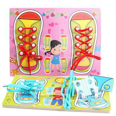 MamimamiHome Childrens Tie Shoelaces Seam Button Toys DIY Threading Board Parenting Game Life Teaching Aids Waldorf Toy Blocks