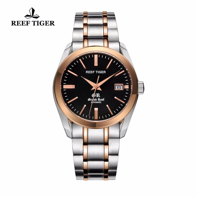 Reef Tiger/RT Business Casual Watches with Date Self Winding Watches for Men Automatic Two Tone Watches RGA818
